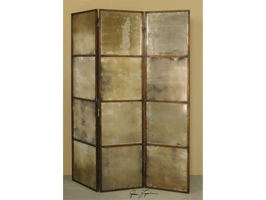 3-Panel Antiqued Mirror Screen
