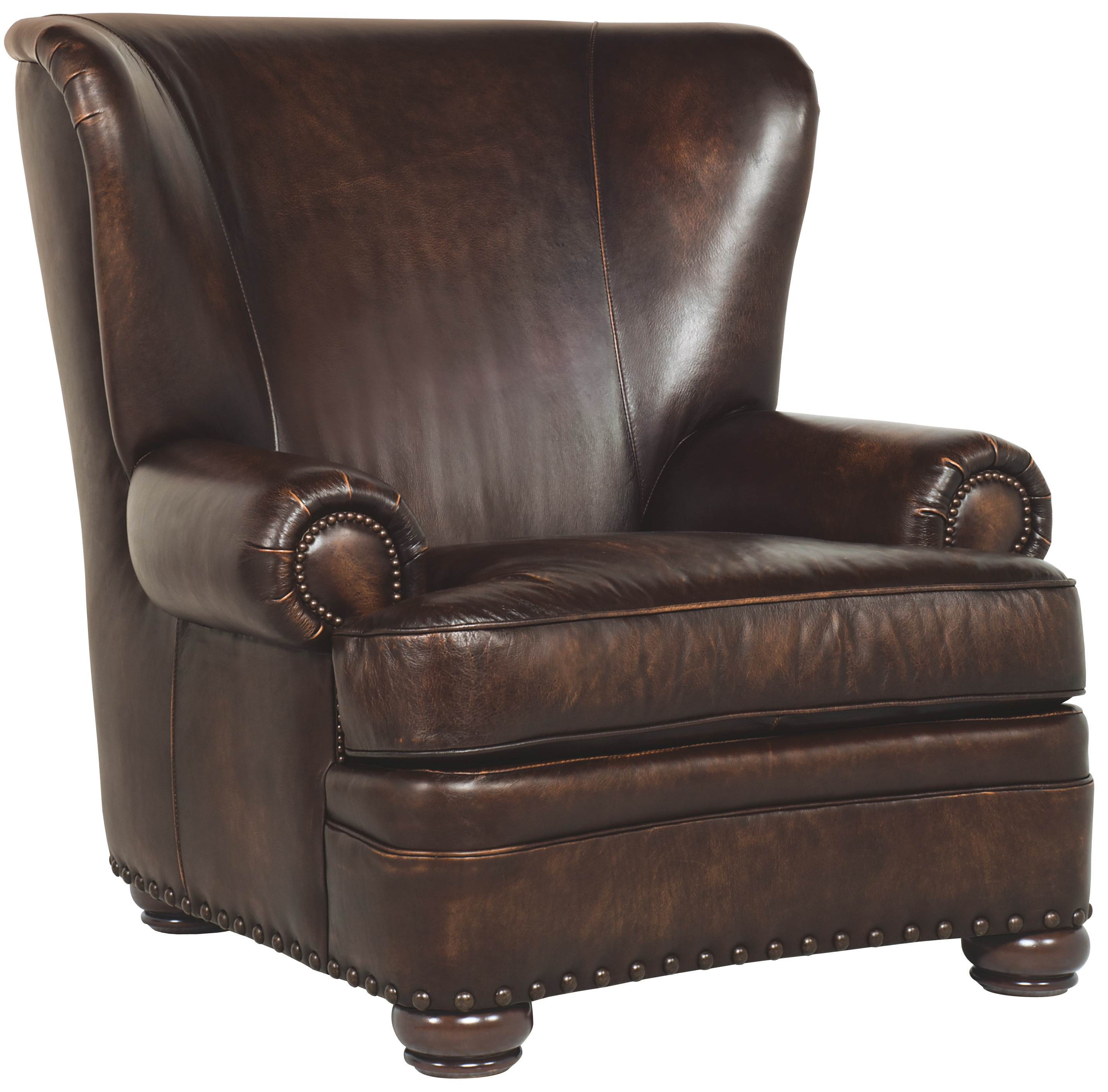 The Benton Leather Club Chair By Bernhardt Is A High Backed Traditional Leather  Chair. Rolled Arms, Turned Wood Legs And Two Types Of Nailhead Trim Accent  ...