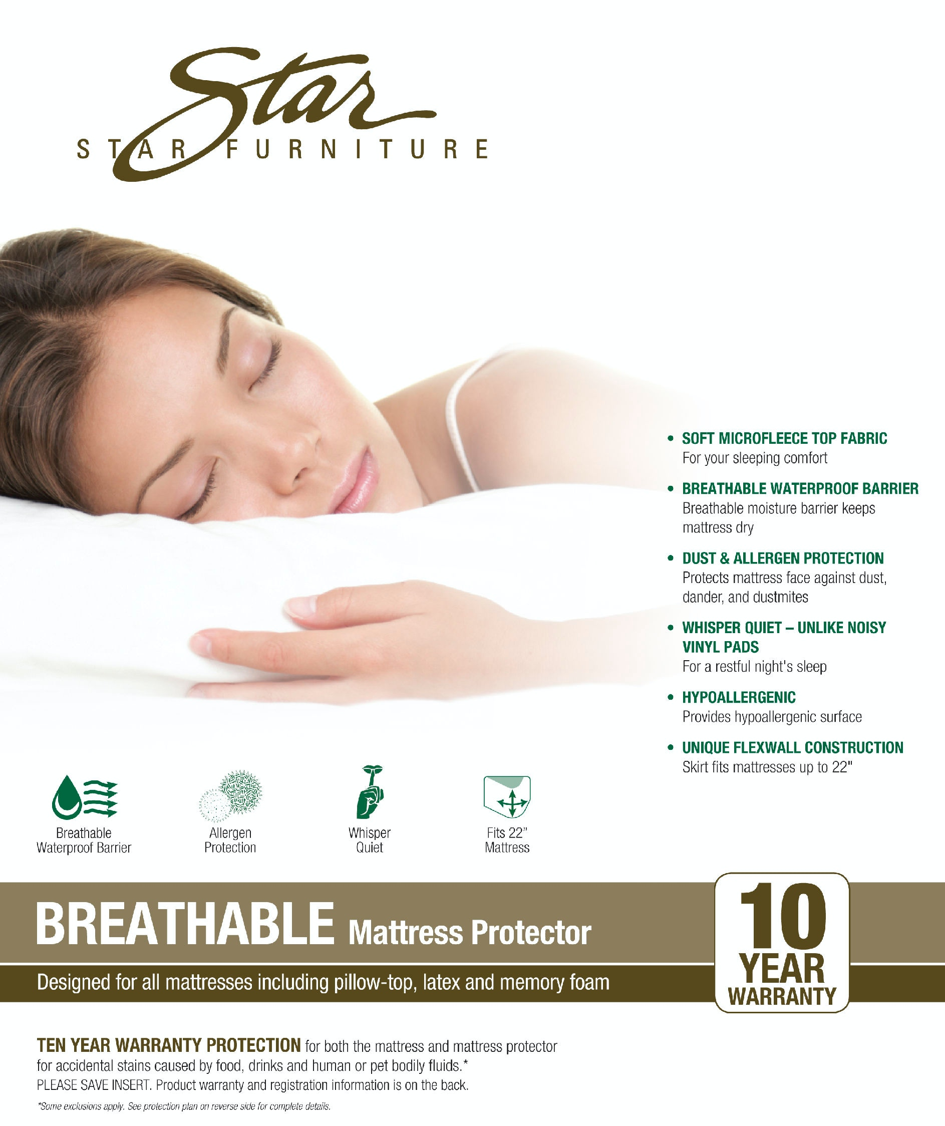 Bedroom Star Furniture Breathable Mattress Protector