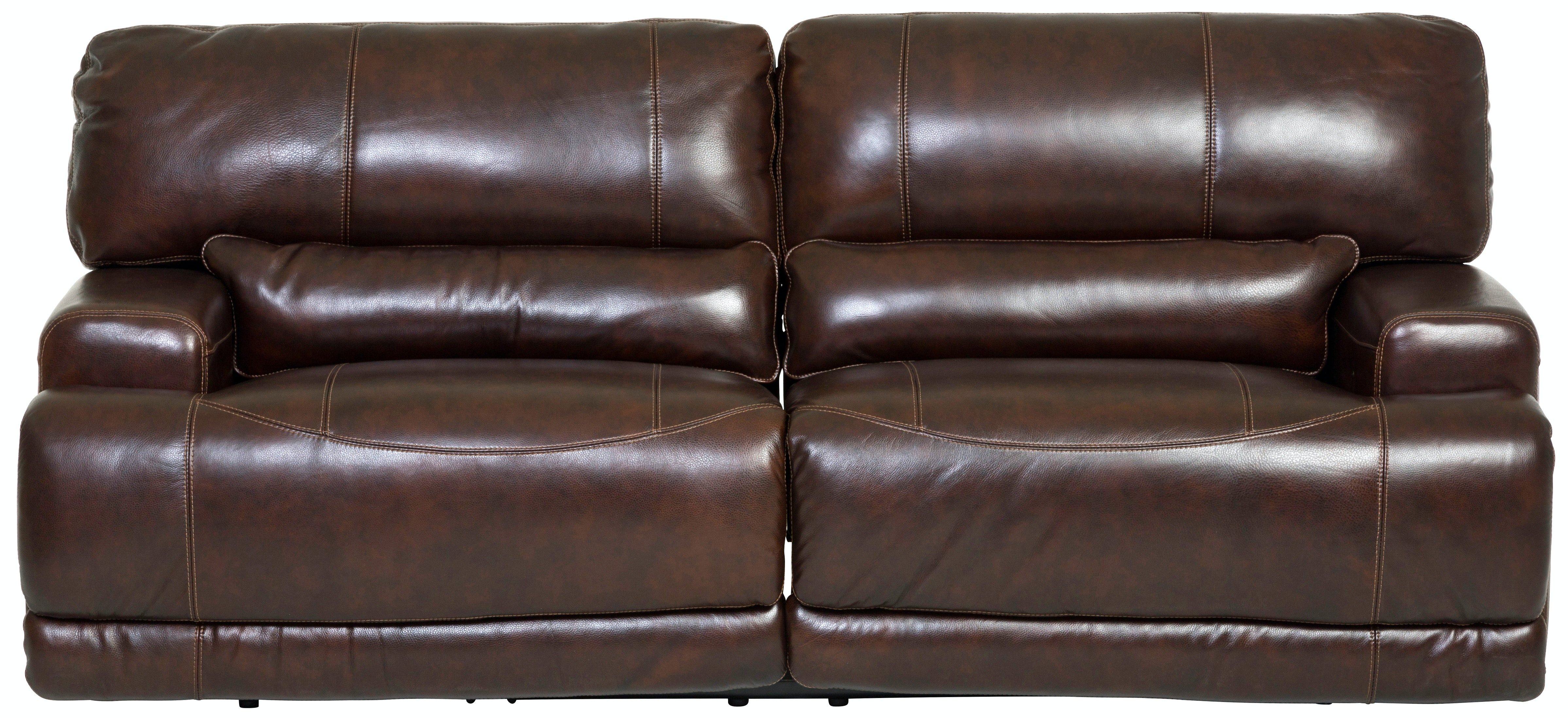 Stampede Leather Manual Reclining Sofa   COFFEE