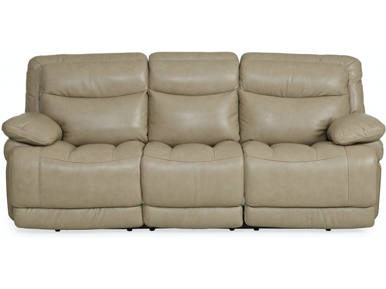 Living Room Longhorn Power Motion 100% Leather Reclining Sofa - WHEAT