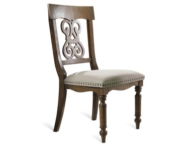 Belmeade Scroll Upholstered Side Chair - Old World Oak Finish