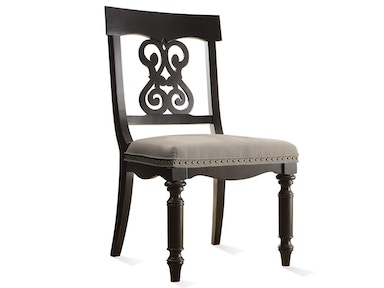 Belmeade Scroll Upholstered Side Chair - Raven Black Finish