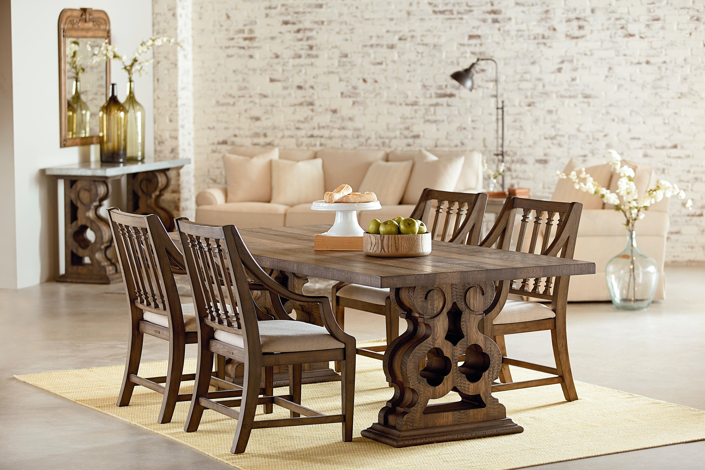 Amazing Magnolia Home   Double Pedestal Hall Table ST:463623