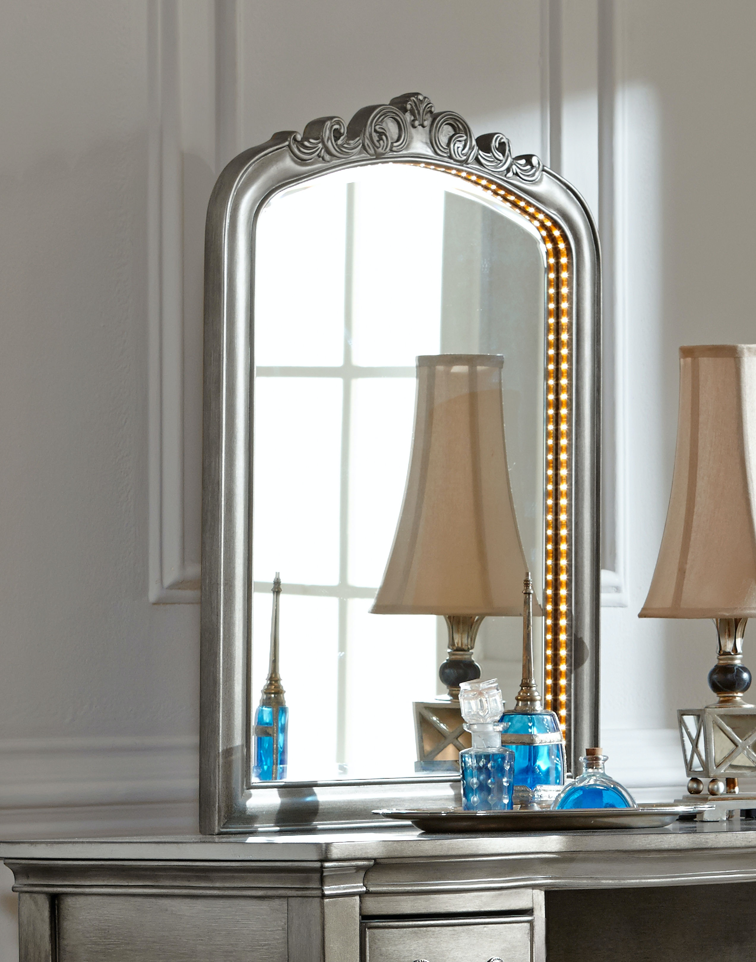 bedroom lighted vanity mirror