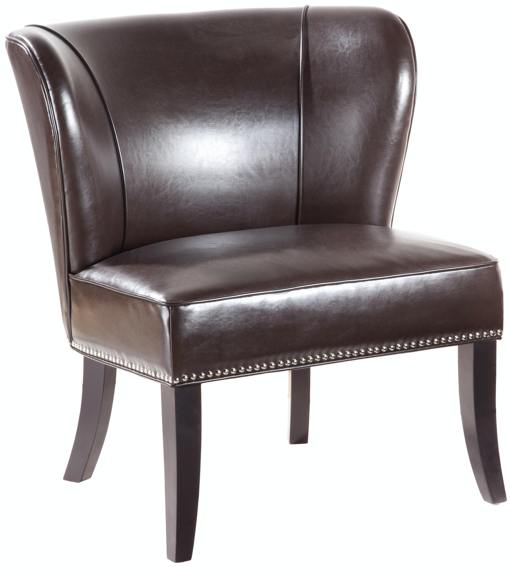 hilton armless accent chair brown