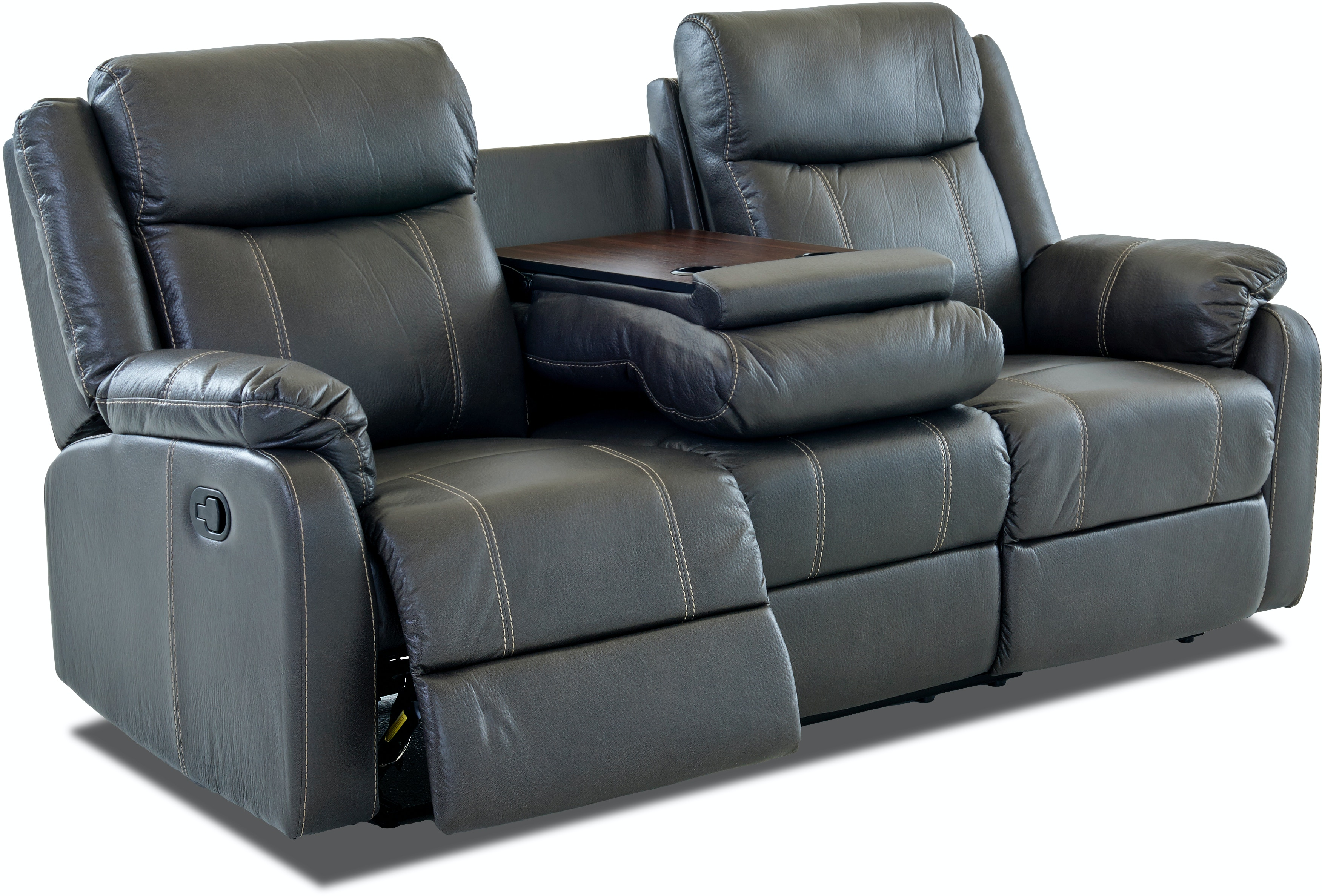 Living Room Bingo Reclining Sofa With Drop Down Table Carbon