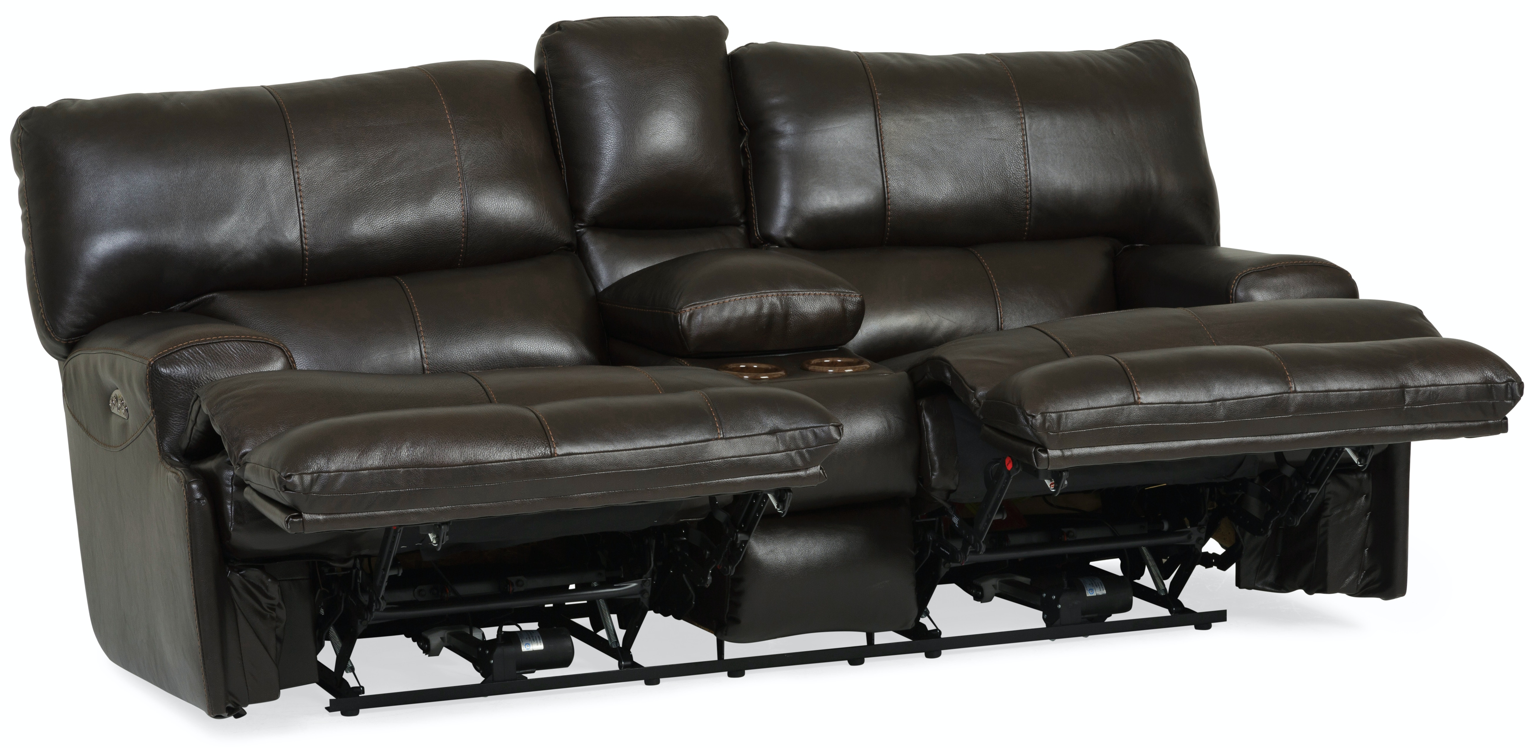 Whiskey Leather Power Reclining Console Loveseat ST:500228