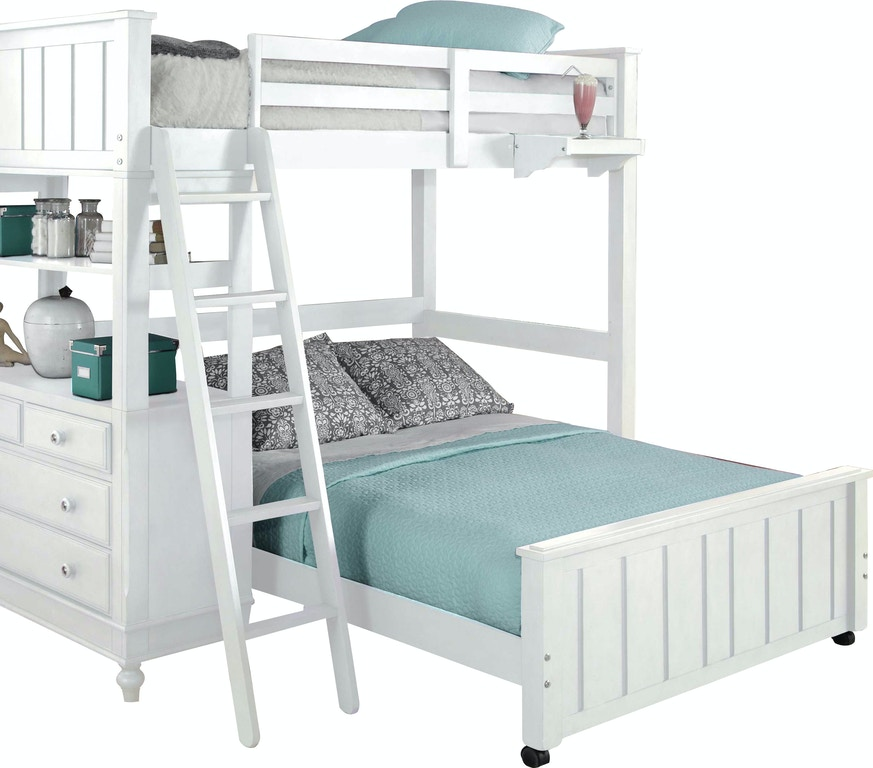 Youth Bedroom Lake House White Twin Loft Bed with 4-Drawer Chest and ...