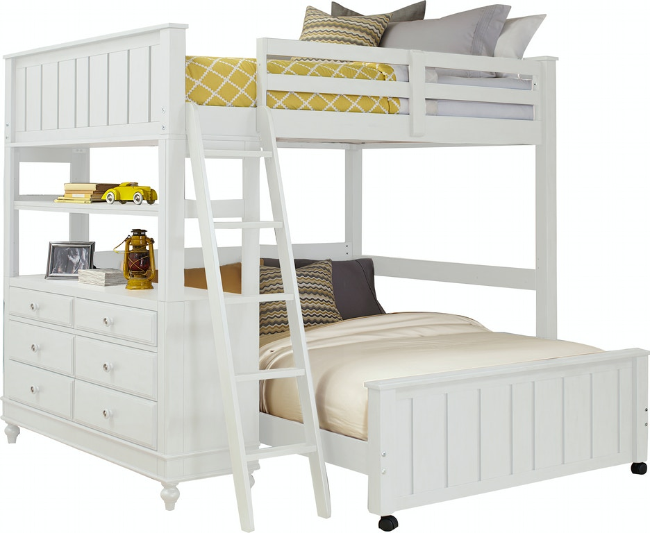 Youth Bedroom Lake House White Full Loft Bed with 6-Drawer Dresser ...