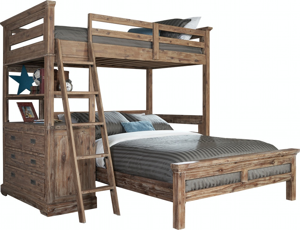 Youth Bedroom Oxford II Twin Loft Bed with 4 Drawer Chest and Full ...