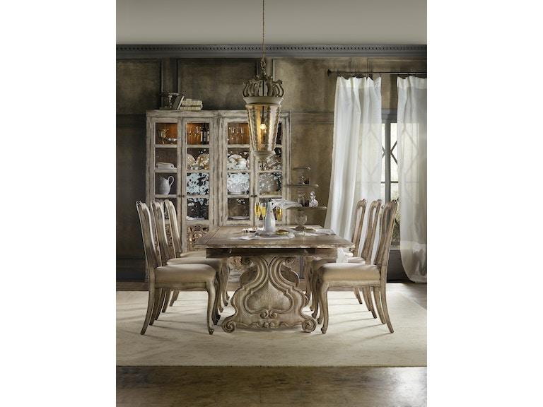Chatelet 5 Piece Dining Room Set Includes Trestle Table 4 Splat Back Side