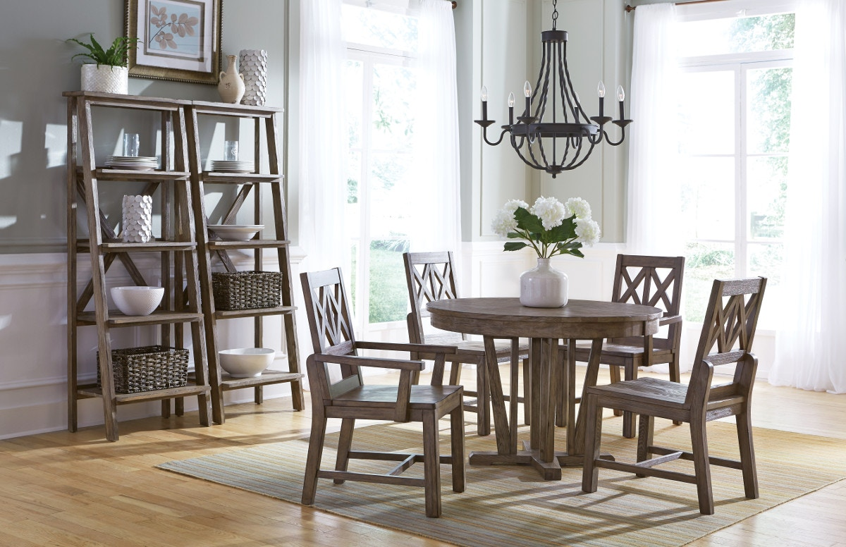 Foundry 5 Piece Dining Room Set: Includes Round Table U0026 4 Wood Back Side