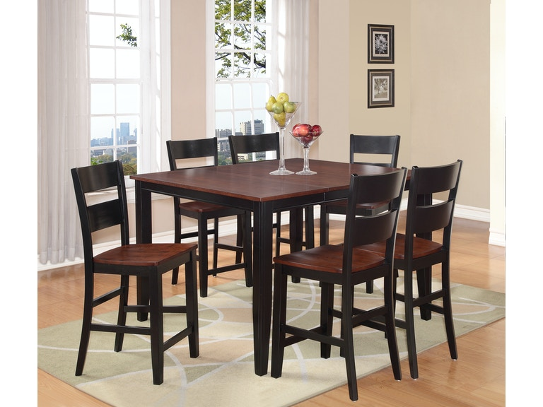 Madera 5 Piece Counter Height Caramel Black Dining Set Gp D308