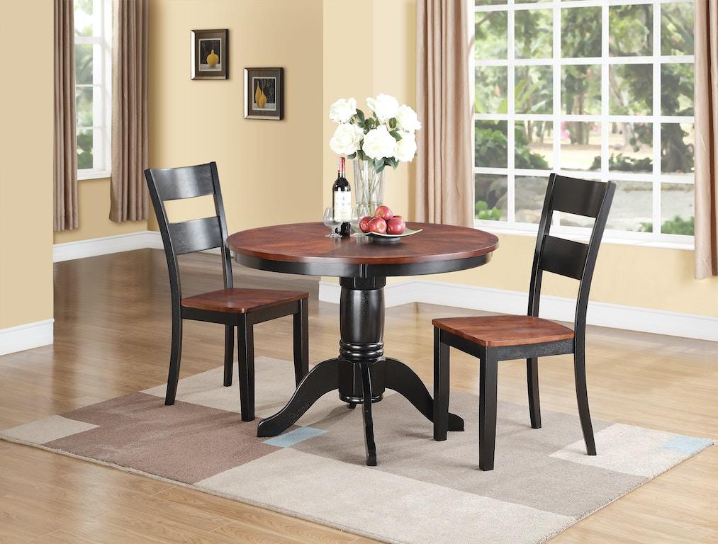 Dining Room Madera 5 Piece Round Carmel/Black Dining Set