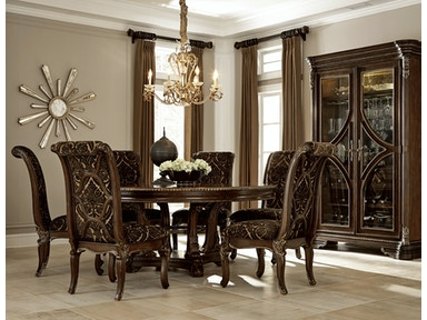 Gables 5 Piece Dining Room Set Includes 72 Round Table 4 Upholstered