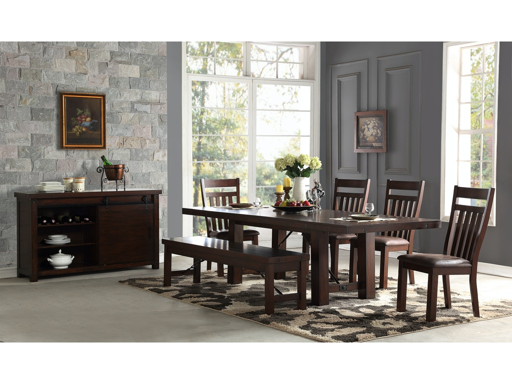 Hanover 5-Piece Dining Room Set: includes Trestle Table & 4 Slat ...