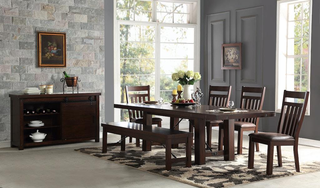 Hanover 5 Piece Dining Room Set Includes Trestle Table 4 Slat Back Side