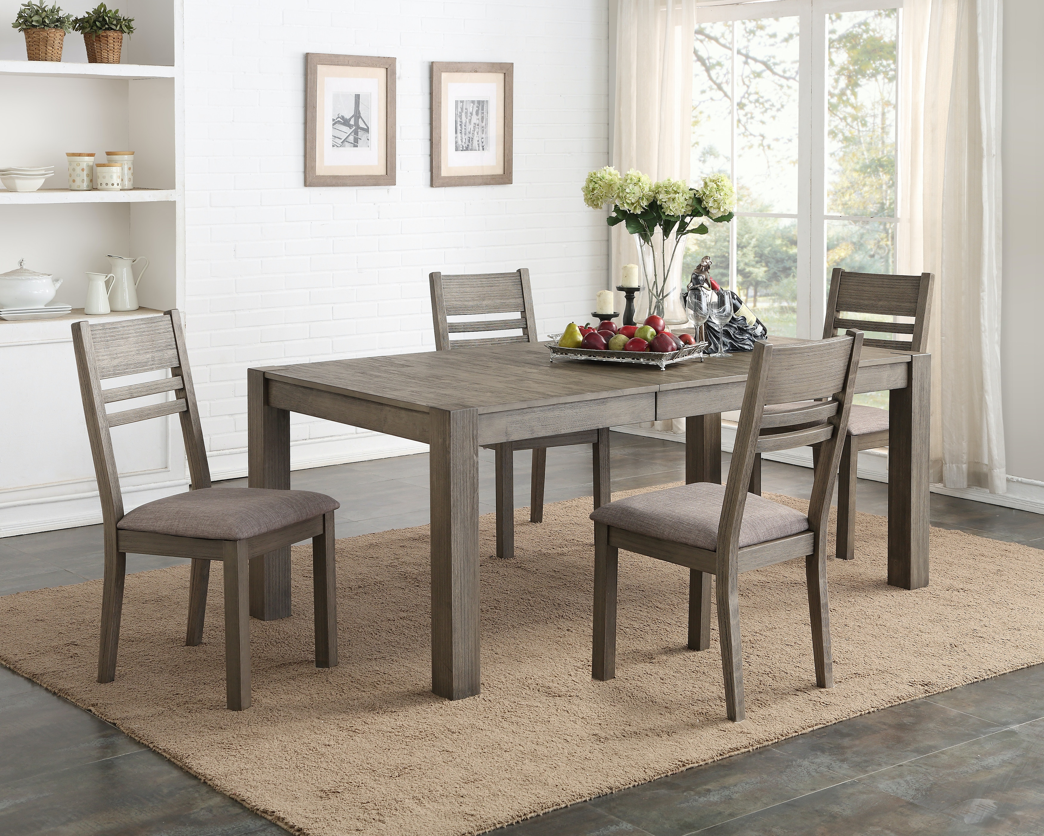Easton Grey 5 Piece Dining Set: Includes Rectangle Table U0026 4 Ladder Back  Side Chairs
