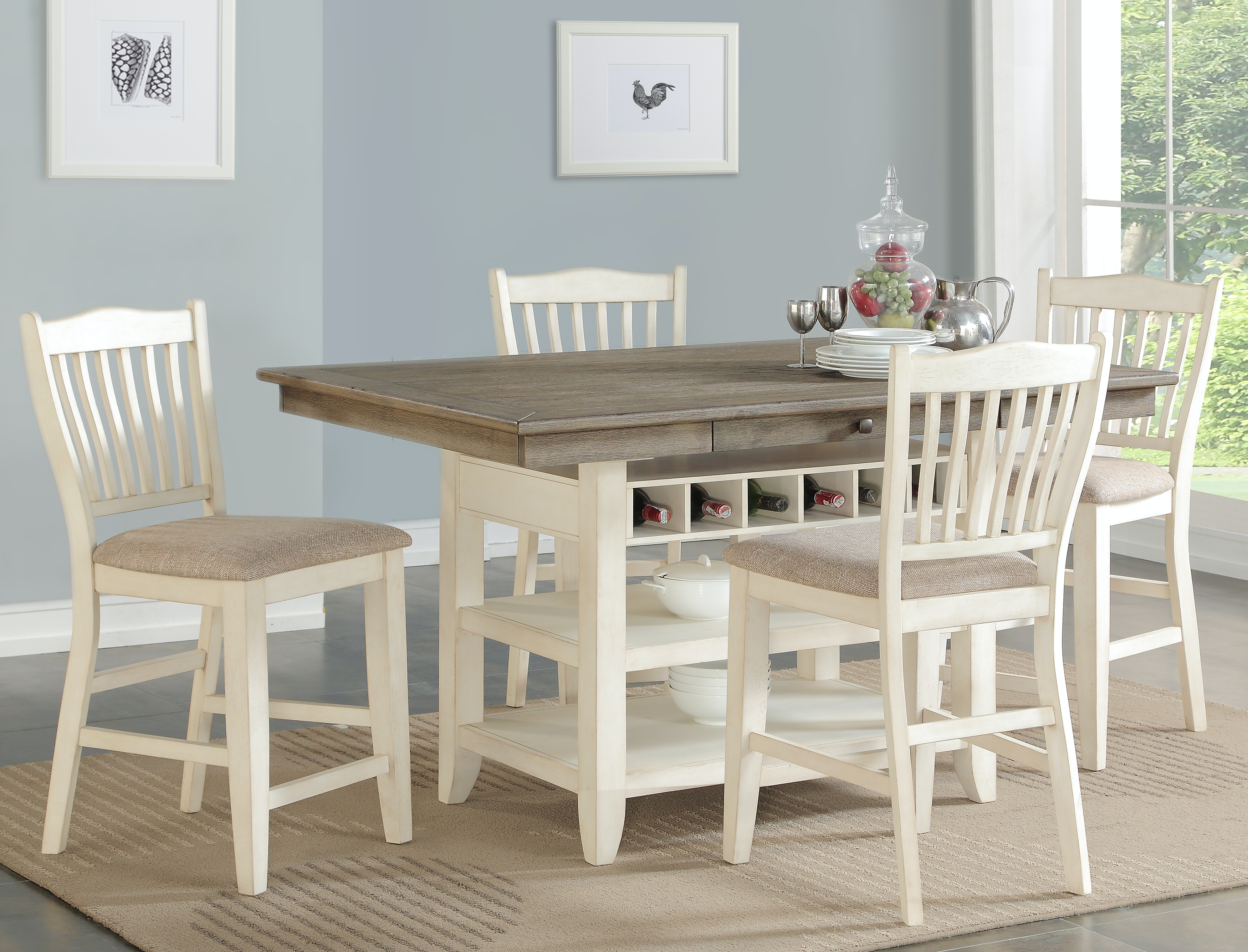 Garth 5 Piece White Counter Height Dining Set GP:D575