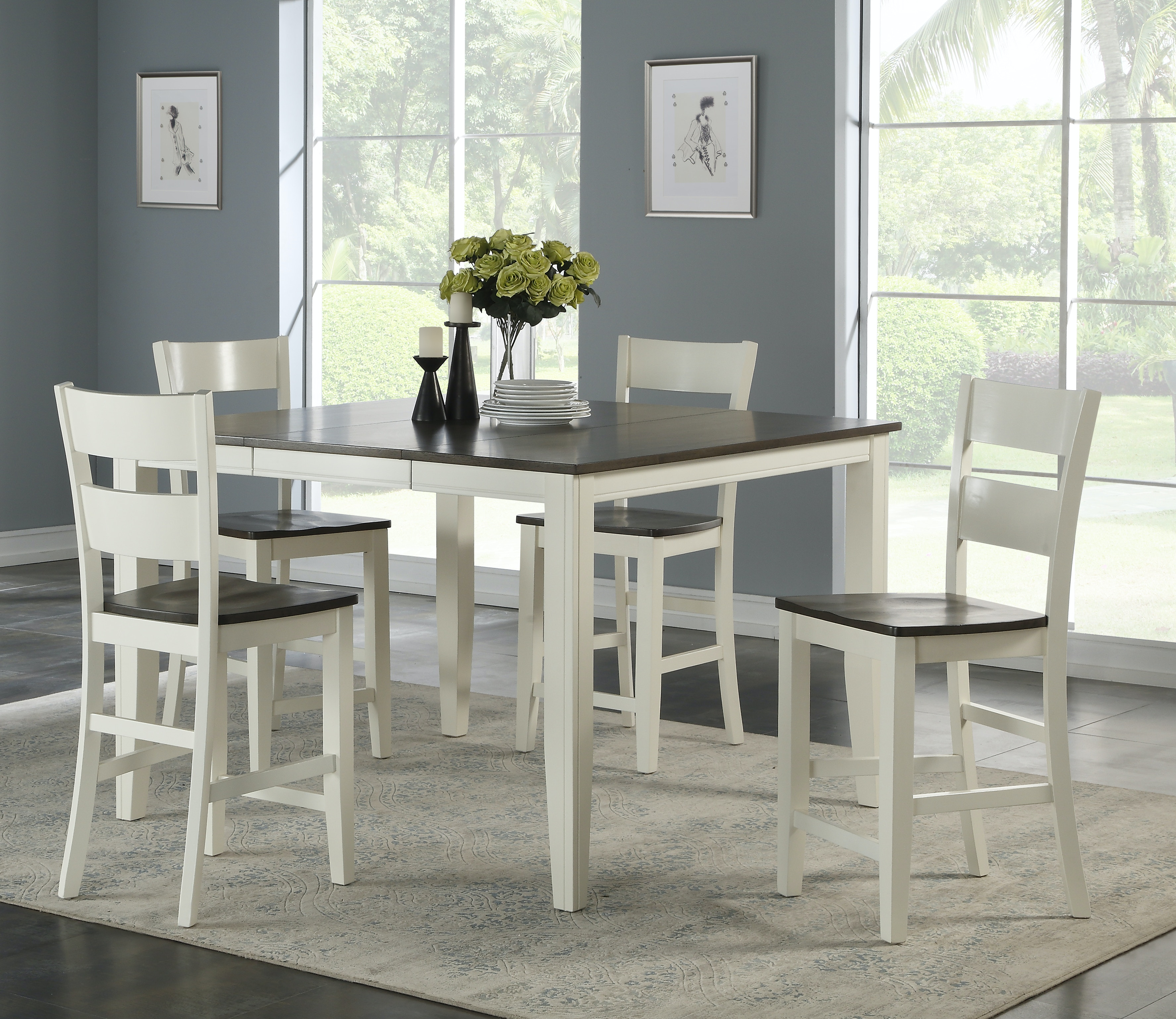 Dining Room Madera Whitegrey 5 Piece Counter Height Dining Set