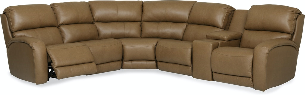 Fandango Modular 6 Piece Leather Reclining Sectional With Heat Mage Gp U331