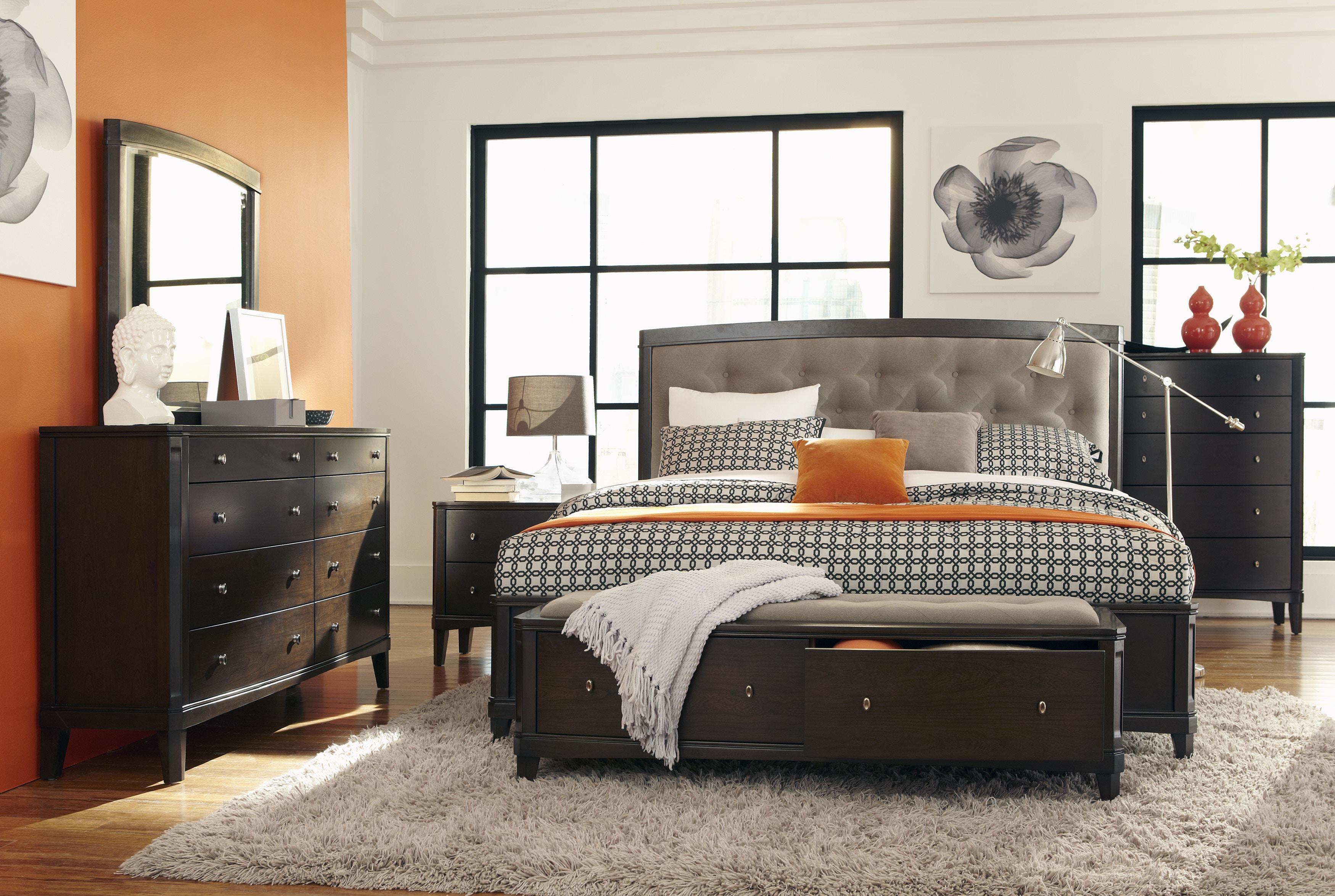 Verona Upholstered Headboard Storage Bed   QUEEN