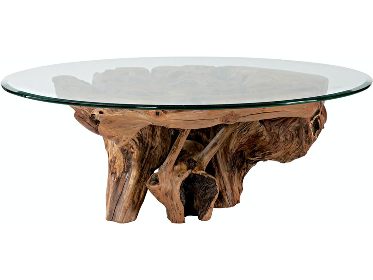 Living Room Arboles Round Gl Top Root Ball Coffee Table