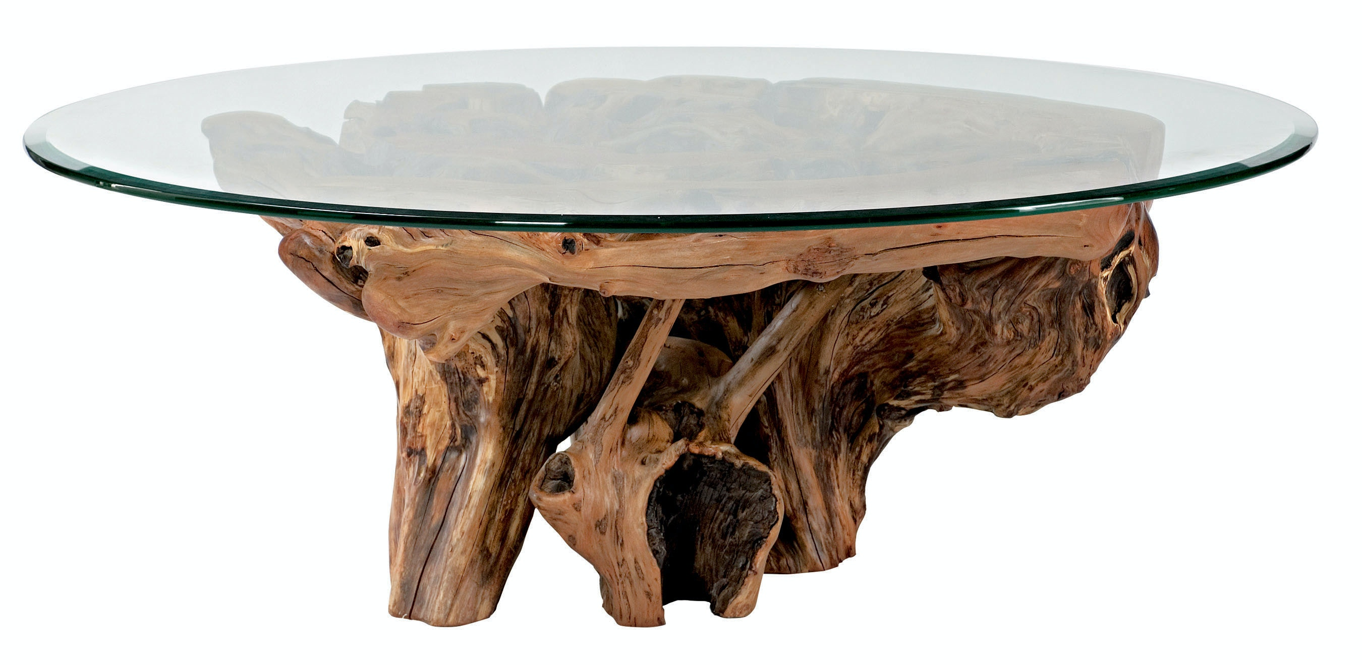 Arboles Round Glass Top Root Ball Cocktail Table