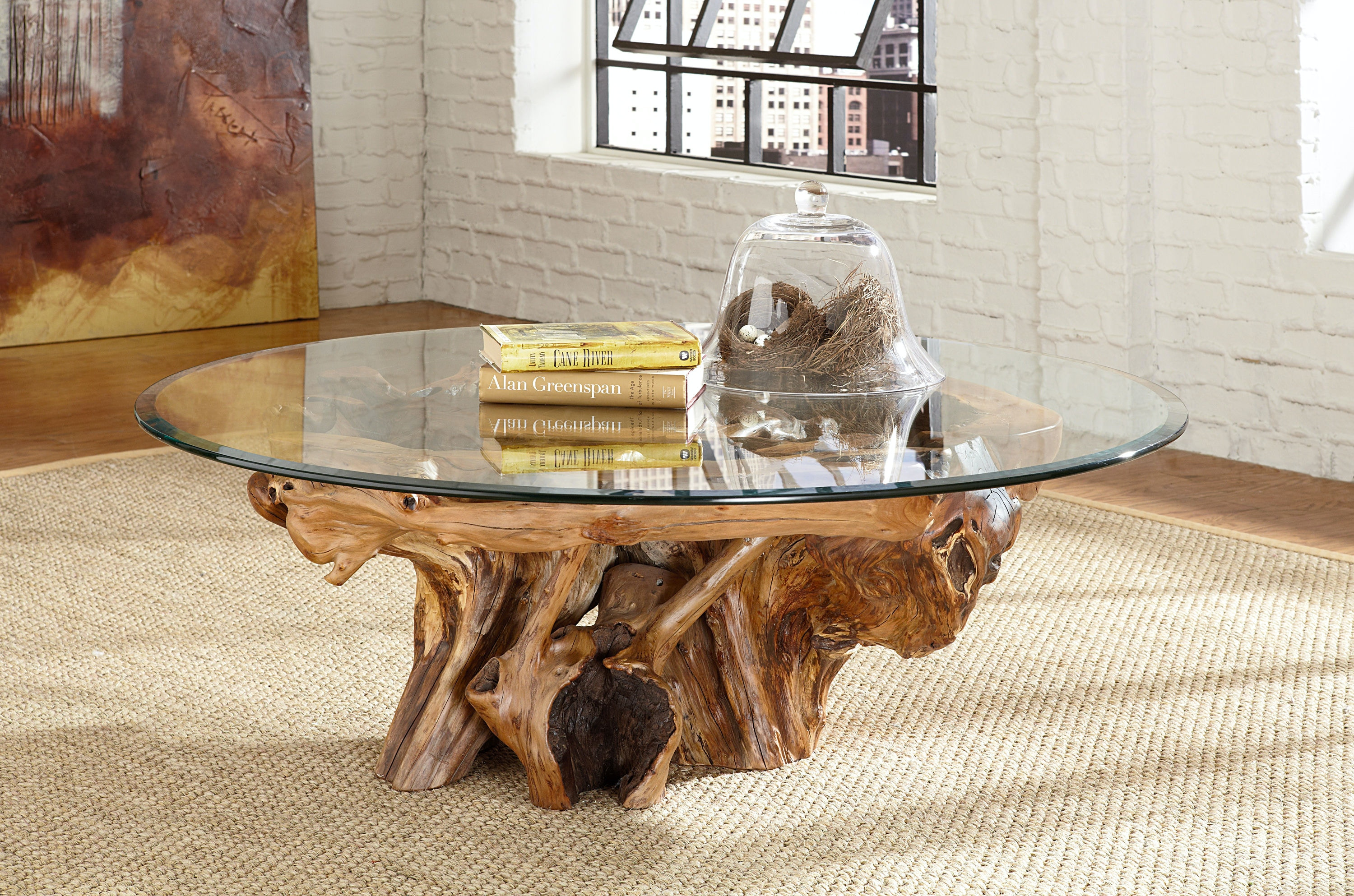 Arboles Round Glass Top Root Ball Coffee Table KT:34066