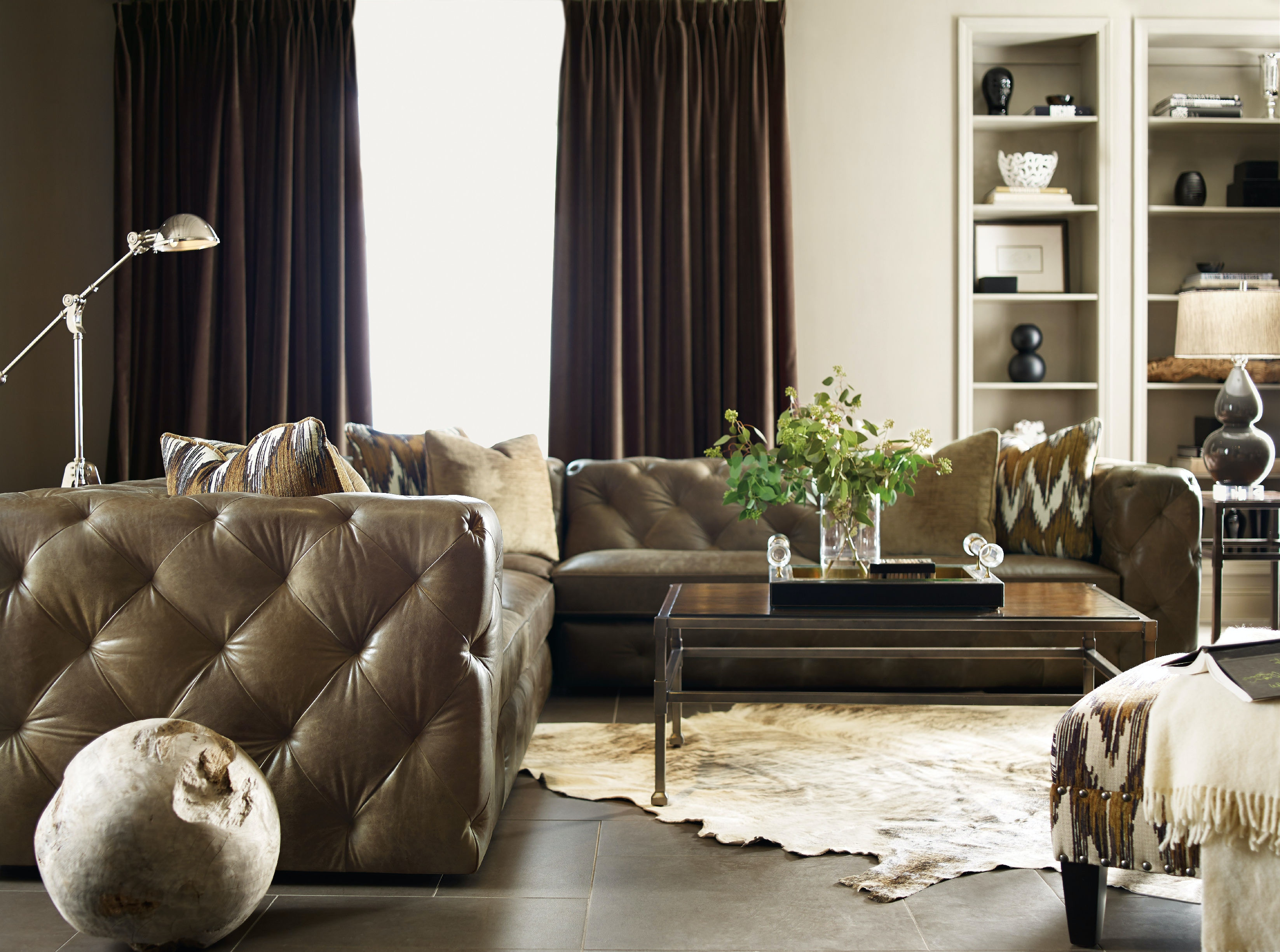 Living Room Leather Sectionals living room chelsea 3-piece leather sectional