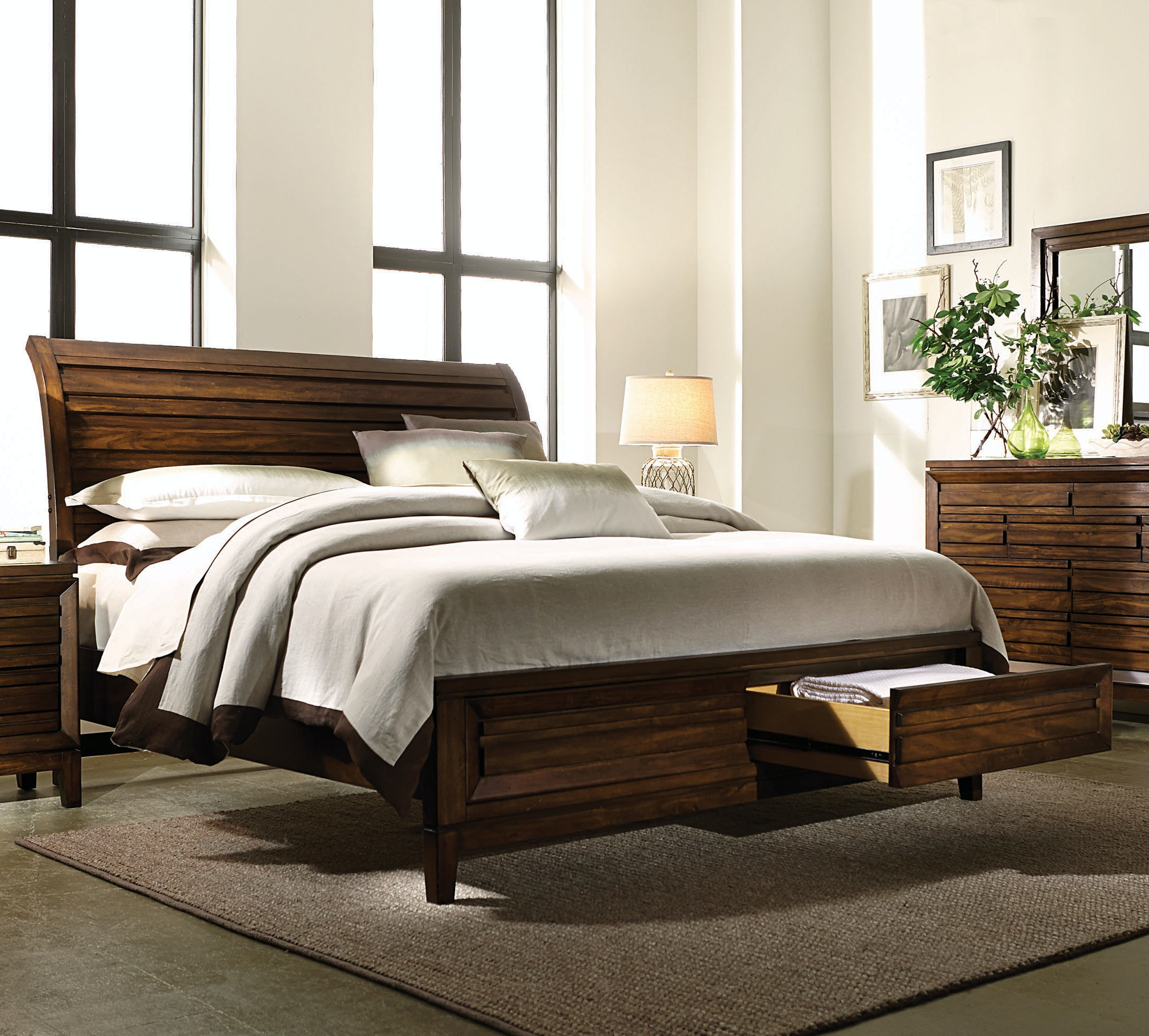 walnut park king sleigh bed with footboard storage kt34629 - King Sleigh Bed