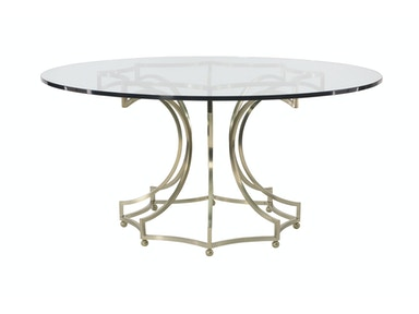 "Miramont 60"" Glass Top Round Table With Metal Base"