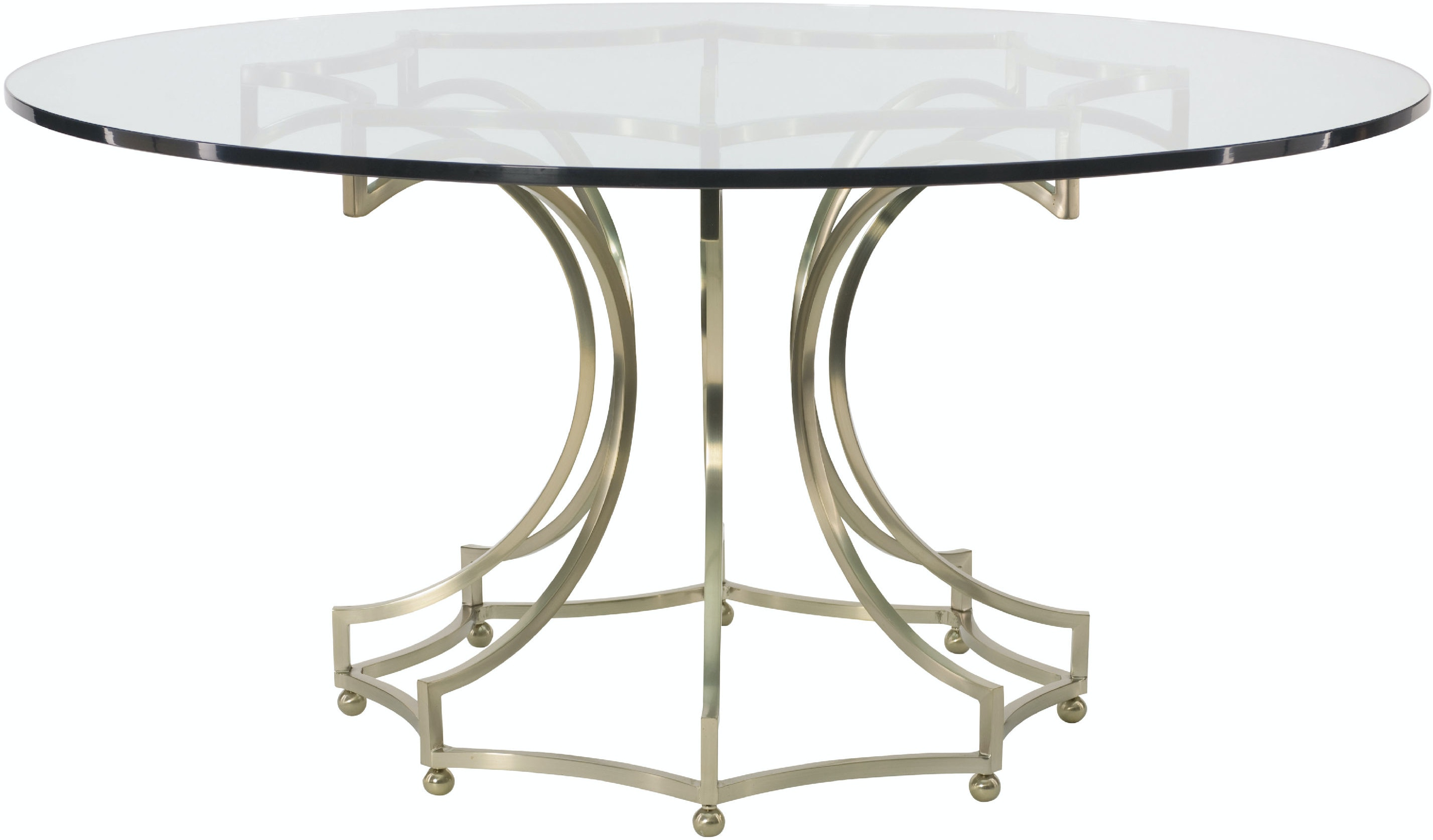 """Dining Room Miramont 60"""" Glass Top Round Table With Metal Base"""
