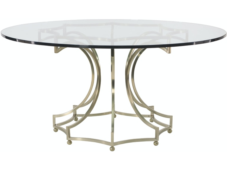 Dining Room Miramont 60 Glass Top Round Table With Metal Base