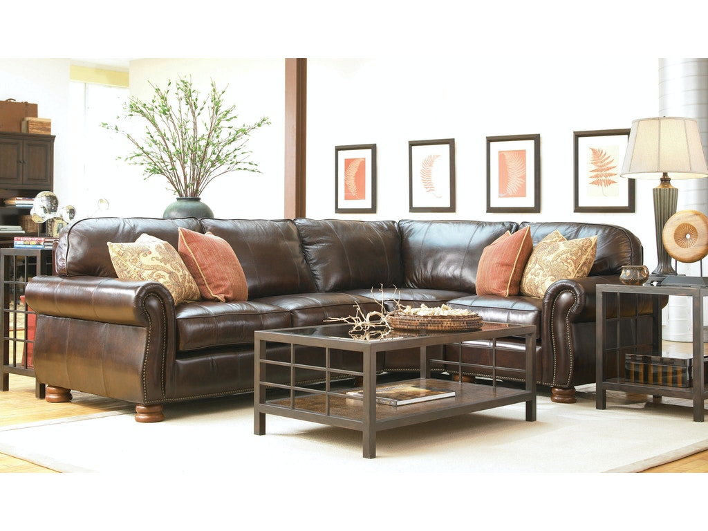 Leather Sectional Living Room Living Room Benjamin 3 Piece Leather Sectional