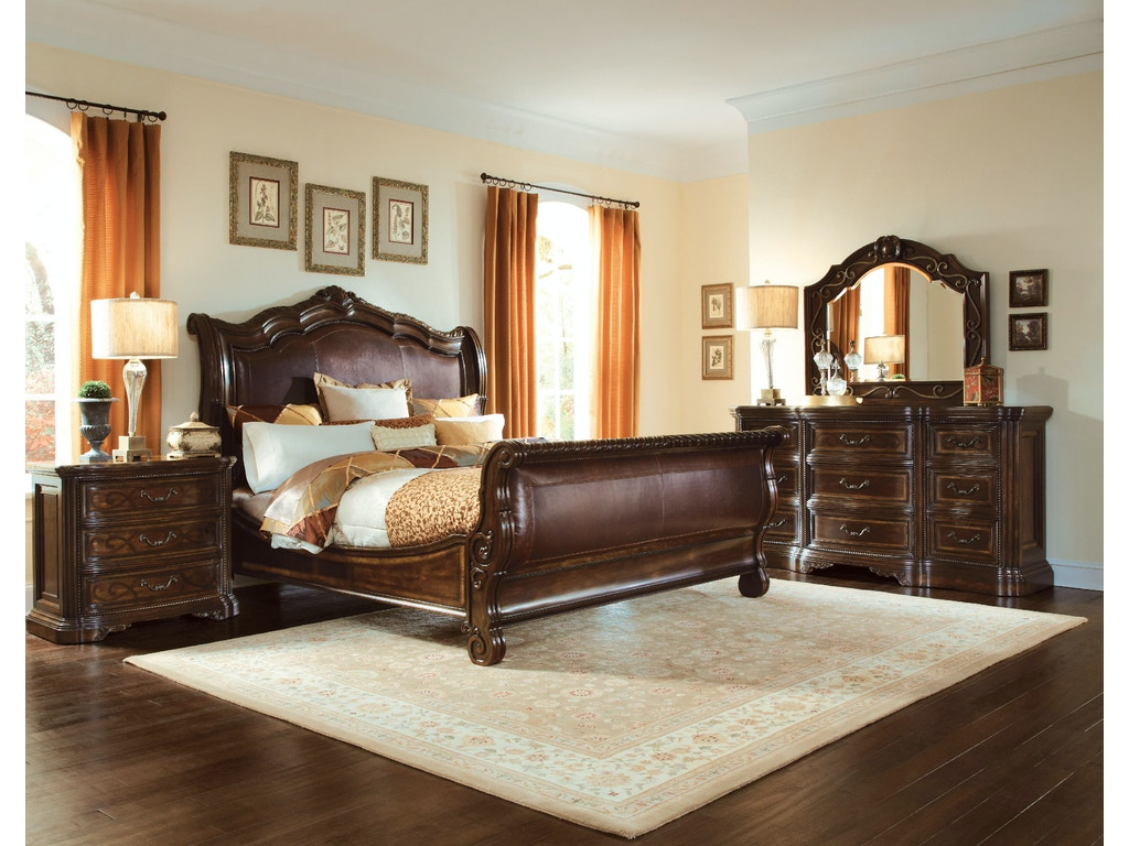 Bedroom Valencia Leather Sleigh Bed KING