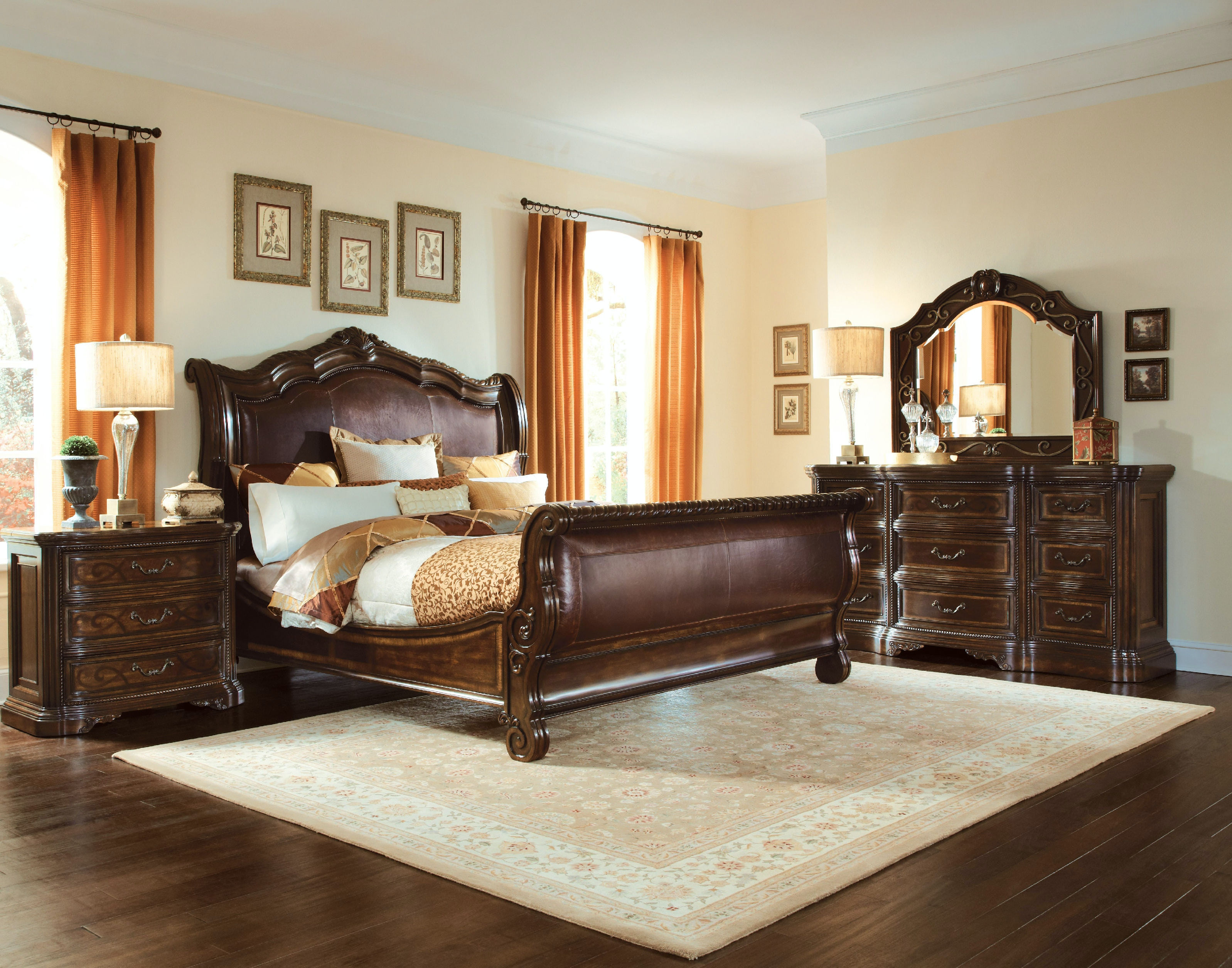 valencia leather sleigh bed king kt50088