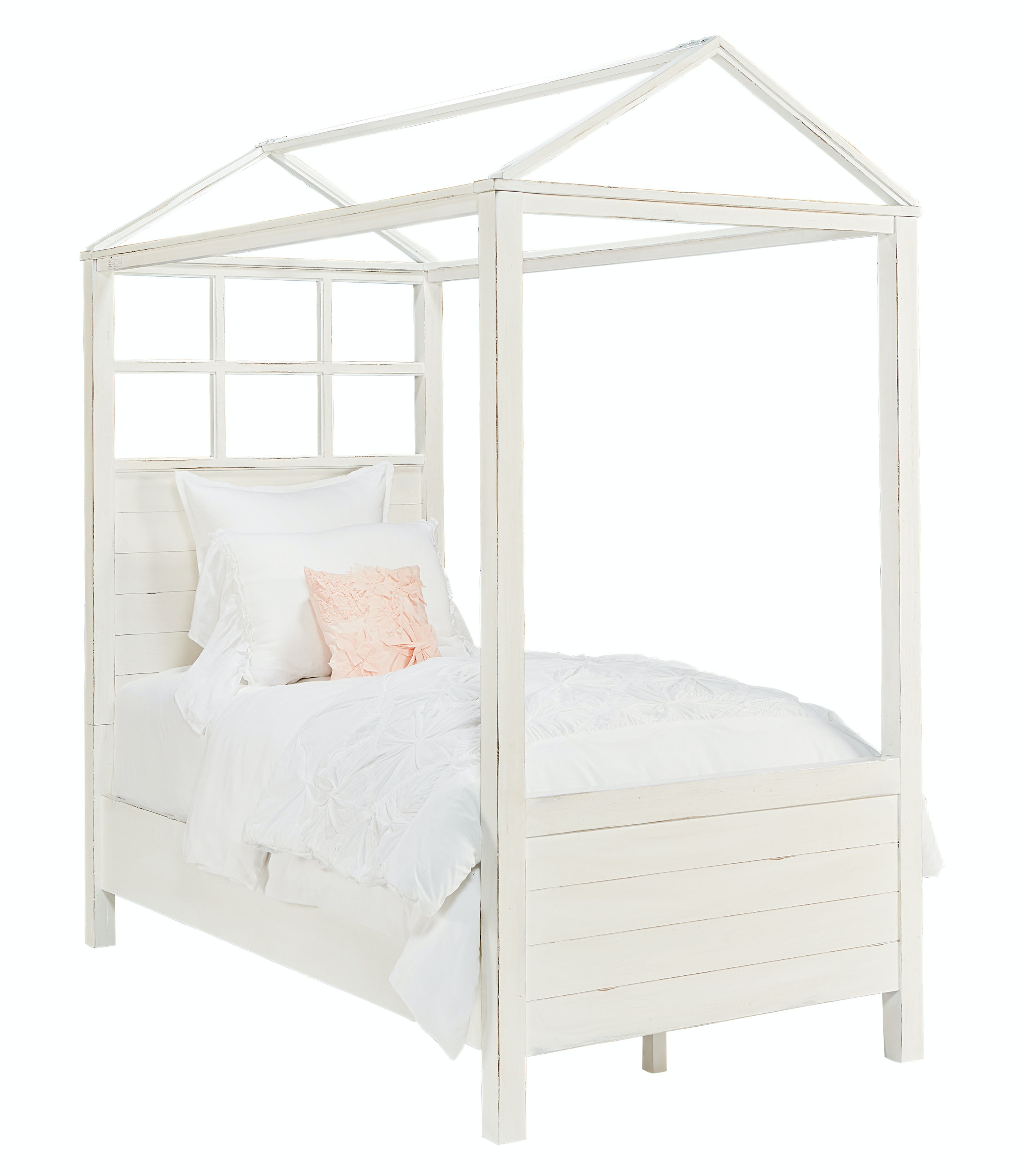 Magnolia Kids - Boho Playhouse Canopy Bed - JOu0027S WHITE - FULL  sc 1 st  Star Furniture : full canopy bed white - memphite.com