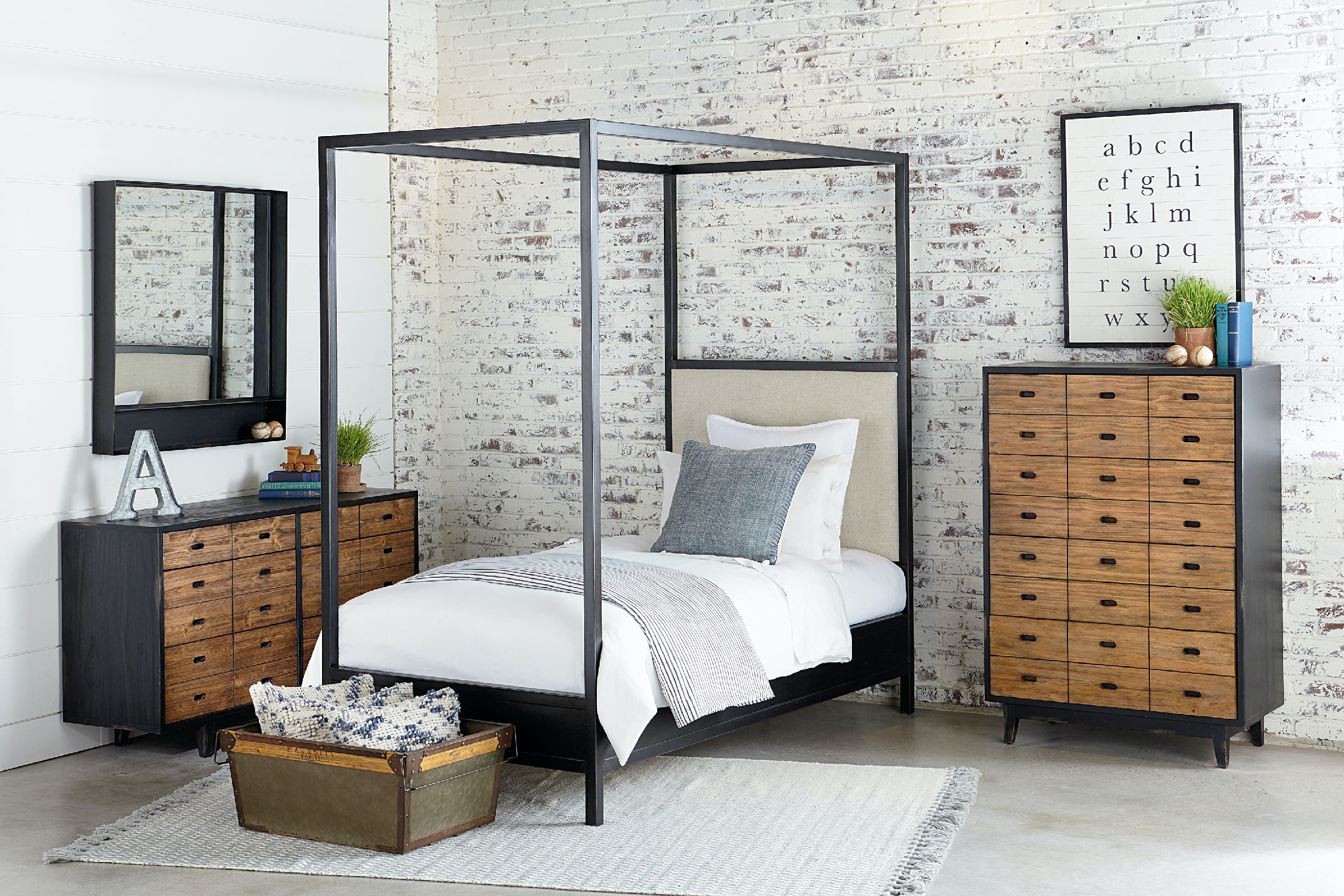 Magnolia Kids - Industrial Framework Upholstered Panel Canopy Bed - TWIN KT66399 : canopy twin bed - memphite.com