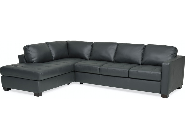 Living Room Denver Leather LAF Chaise Sectional - ANTHRACITE