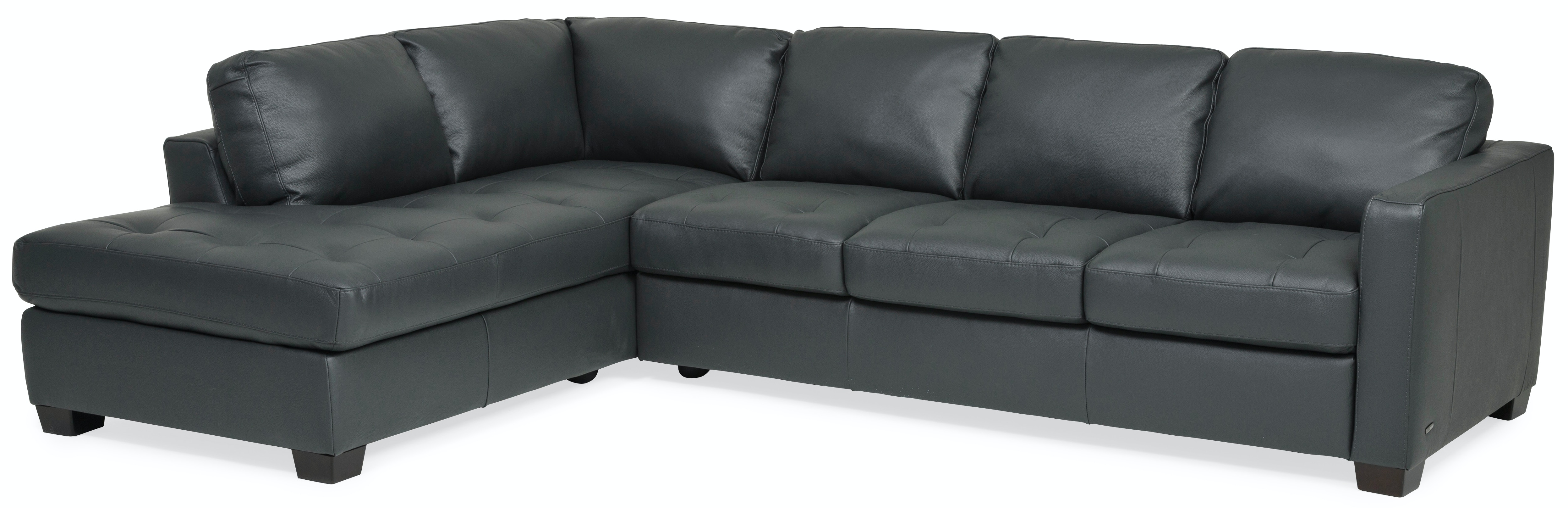 Denver Leather Chaise Sectional (LAF)   ANTHRACITE