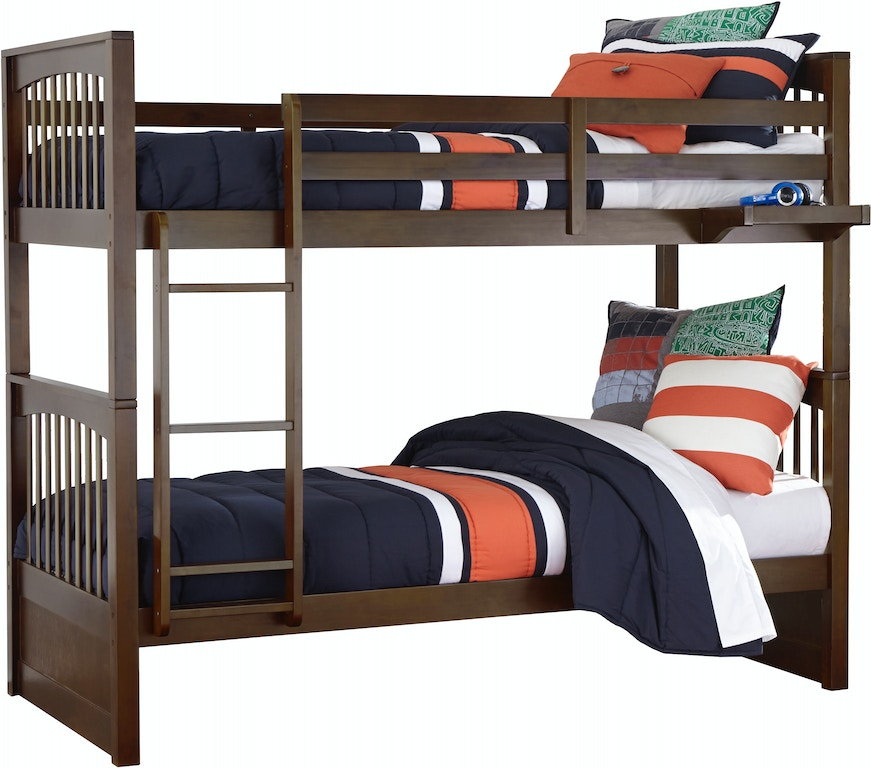 Youth Bedroom Pulse Twin over Twin Bunk Bed - CHOCOLATE