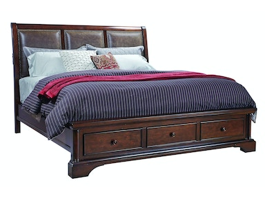 Bancroft Upholstered Sleigh bed with Storage Footboard - QUEEN