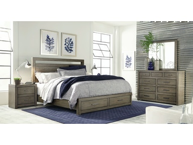 Modern Loft Queen Panel Bed with Storage Footboard