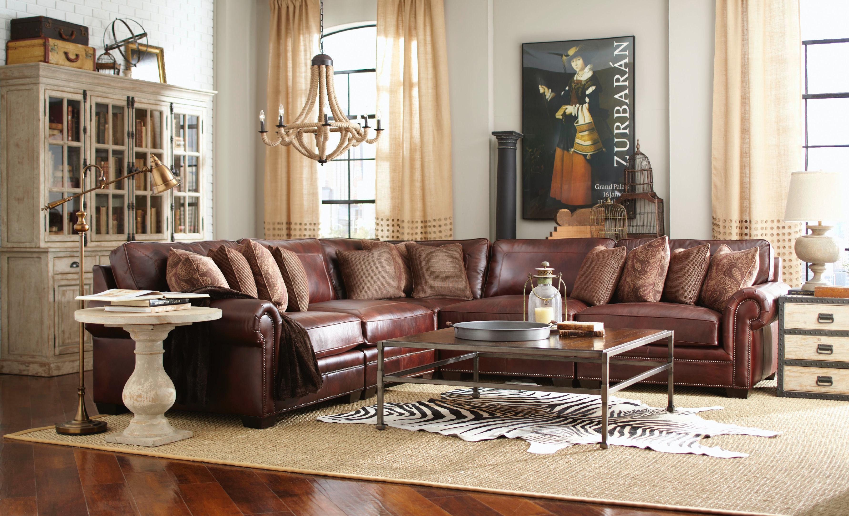 Merveilleux Grandview 5 Piece Leather Sectional GP:L106