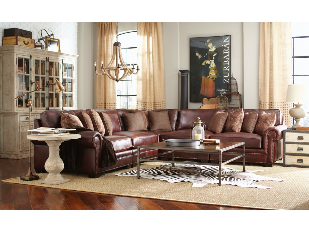 Living Room Grandview 5 Piece Leather Sectional