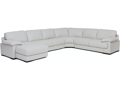Living room denver 4 piece leather sectional smoke for Leather sectional sofa denver