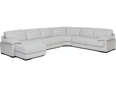 Denver 4 Piece Leather Laf Chaise Sectional Smoke