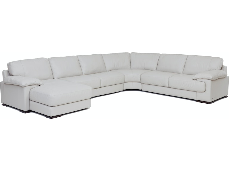 Living Room Denver 4-Piece Leather Chaise Sectional (LAF) - SMOKE